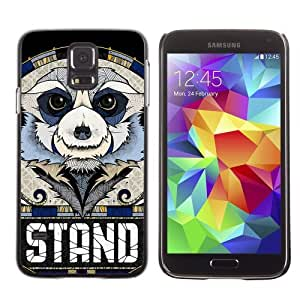 Licase Hard Protective Case Skin Cover for Samsung Galaxy S5 - Cool Sloth STAND Message