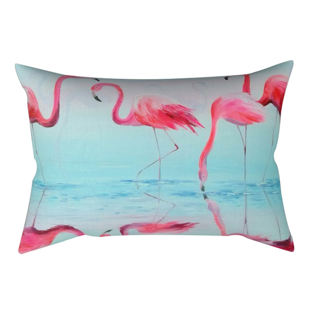Bluelans® Cushion Cover Pink Flamingo Printed Linen Decorative Pillow Case 30cm x 50cm (12inx20in) (#1)