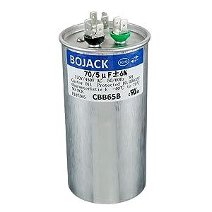 BOJACK 70+5uF 70/5MFD ±5% 370V/440V CBB65 Dual Run Circular Start Capacitor for AC Motor Run or Fan Start or Condenser Straight Cool or Heat Pump air Conditioner