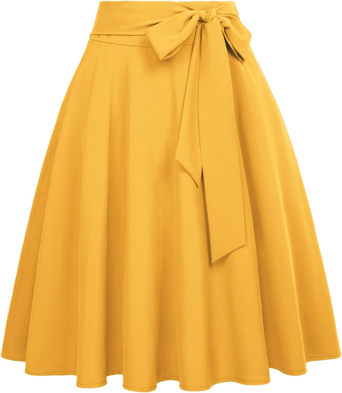 Belle Poque Falda Mujer Cintura Alta Plisada Bolsillo Ruffle Cóctel Fiesta
