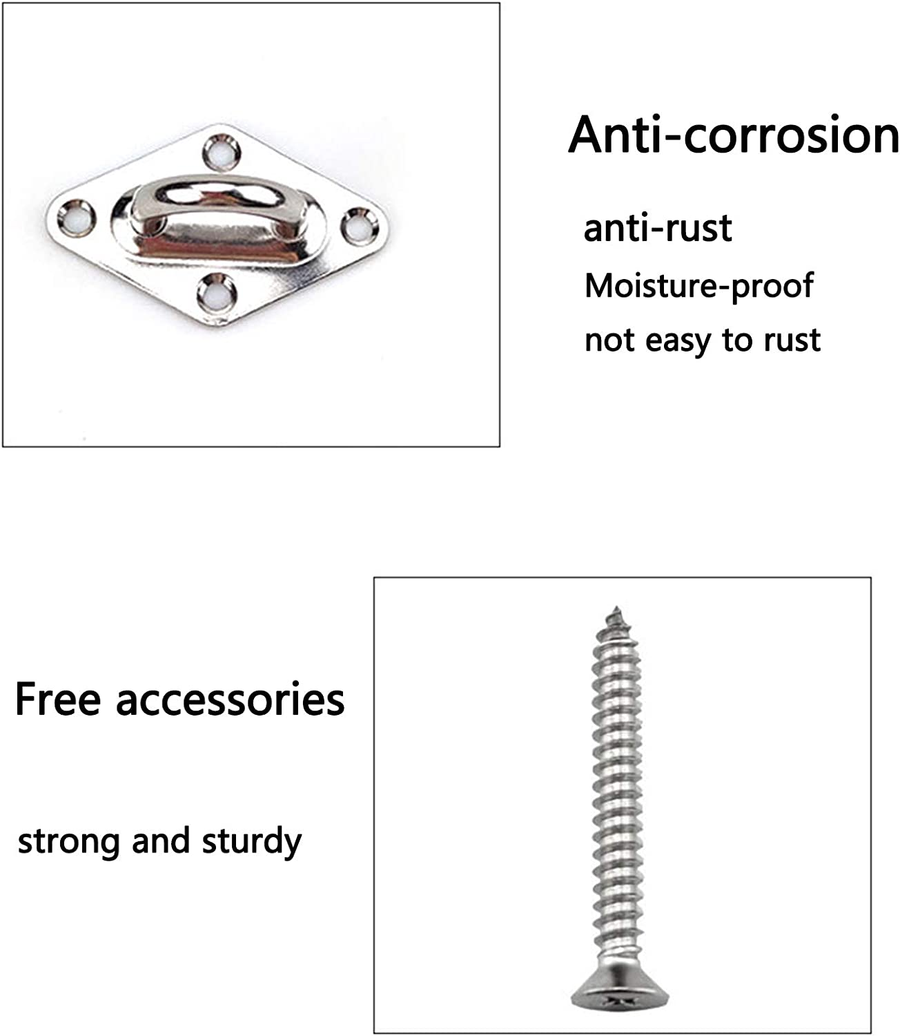 Tent Installation Anti-Rust lop M8 Hook /& Hook//C to C Turnbuckles 304 Stainless Steel Hardware Kit for Sun Shade