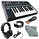 Novation Bass Station II Monophonic Analog Synthesizer and Bundle with Cables + Tascam Headphones + Fibertique Cleaning Cloth