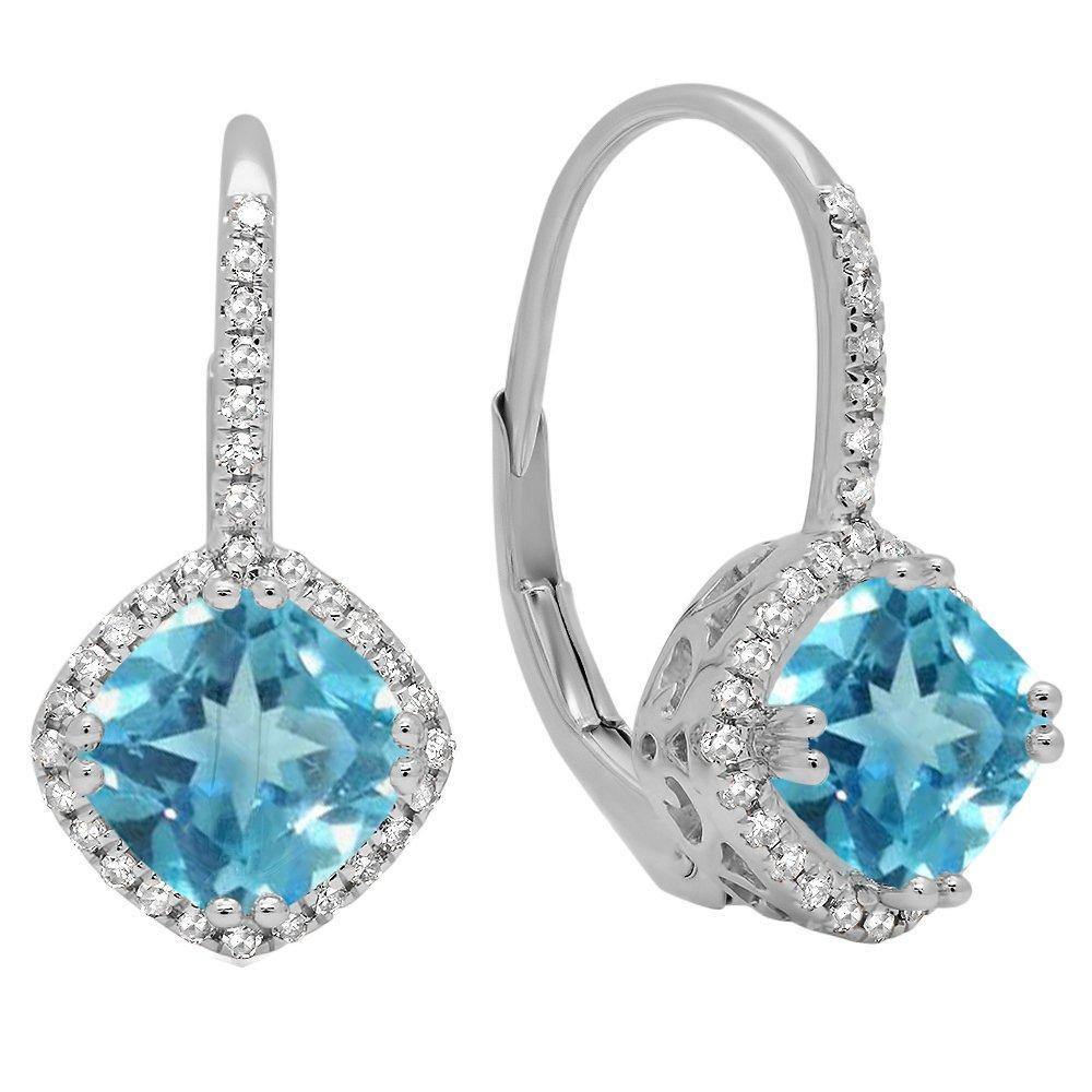 Dazzlingrock Collection 14K Cushion Blue Topaz & Round White Diamond Ladies Halo Dangling Drop Earrings, White Gold