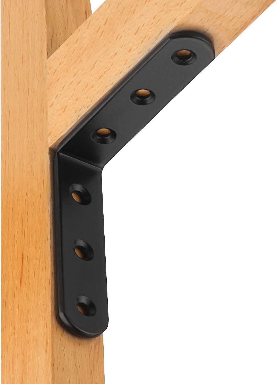 color negro Soporte de esquina para muebles STARVAST 20 unidades, acero inoxidable, /ángulo recto de 90 grados, 80 x 80 x 3 mm, forma de L