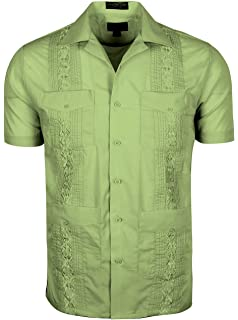 ffb8f3b6aadaf Platoon Guayabera Short Sleeve Mens Cuban Shirt Wedding Cigar Beach ...