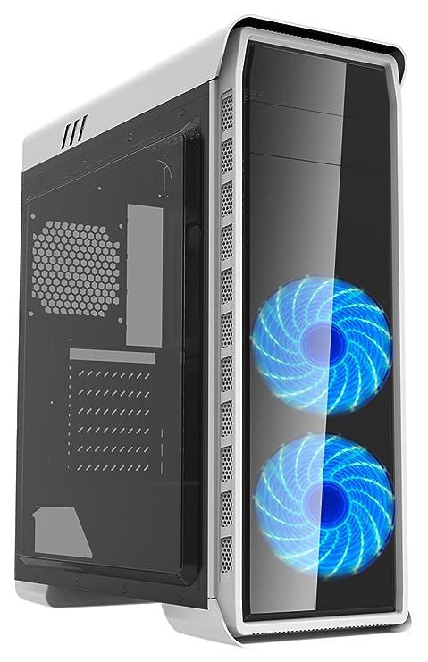 computer fisso da gaming blu  GameMax Elysium White Case Atx Middle Tower per PC Desktop da Gaming 0.6MM  SPCC 2 Ventole 15 LED Blu 3*USB3.0/2.0 Pannello Laterale Full Plexiglass