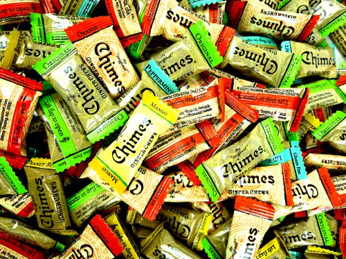 Chimes Ginger Chews 5-Flavor Variety: One 2 lb Bag of Assorted Original, Orange, Mango, Peppermint, and Peanut Butter Ginger Chews by Chimes (Image #1)