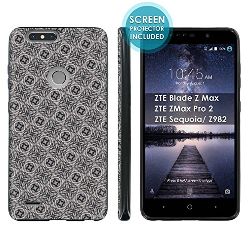 [Mobiflare] TPU Phone Cover for ZTE Blade Zmax Pro 2/ZTE Sequoia [Black] Ultraflex Gel Phone Case Screen Protector Included - [Coral Patterns] for ZTE Blade Z Max Z982 [6