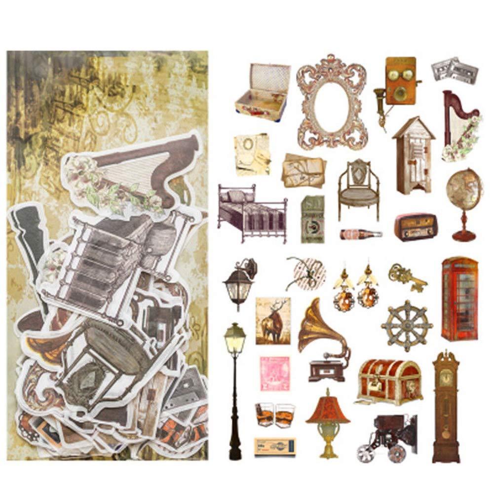 eroute66 Vintage Light Clock Furniture Plant DIY Scrapbooking Album Diary Stickers 2Pcs 1#