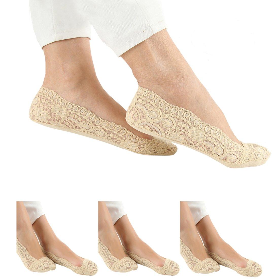 Damen Füßlinge Ballerina Socken Spitze Footies Sneakersocken 3 oder 5 Paar