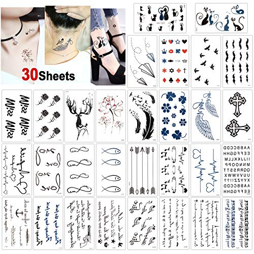 Konsait 30 Sheets Temporary Tattoos for Women Men Fake Tatoo Body Art Stickers Adult Waterproof Black Tiny Temporary Tattoo for Hand Neck Wrist Arm Shoulder Chest Back Legs