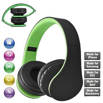 da69f94afc4 MIYA iPhone auriculares plegables Bluetooth, sonido envolvente estéreo de  calidad de sonido perfecta para iPhone ...