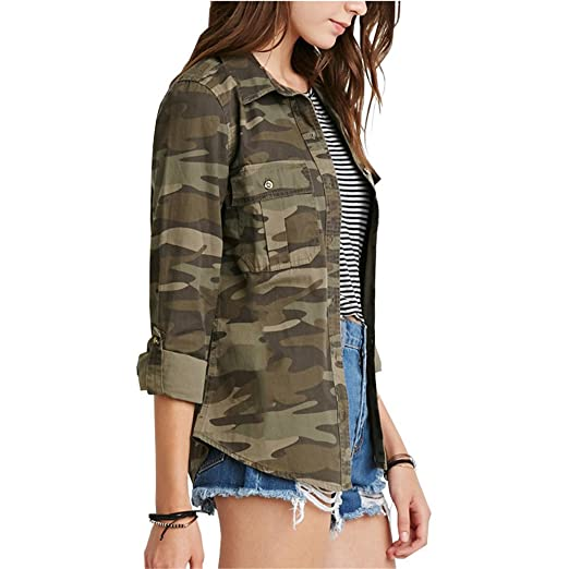 Amazon.com: Eiffel Womens Military Camouflage Army Button up Short Jacket Blouse Top Coat: Clothing