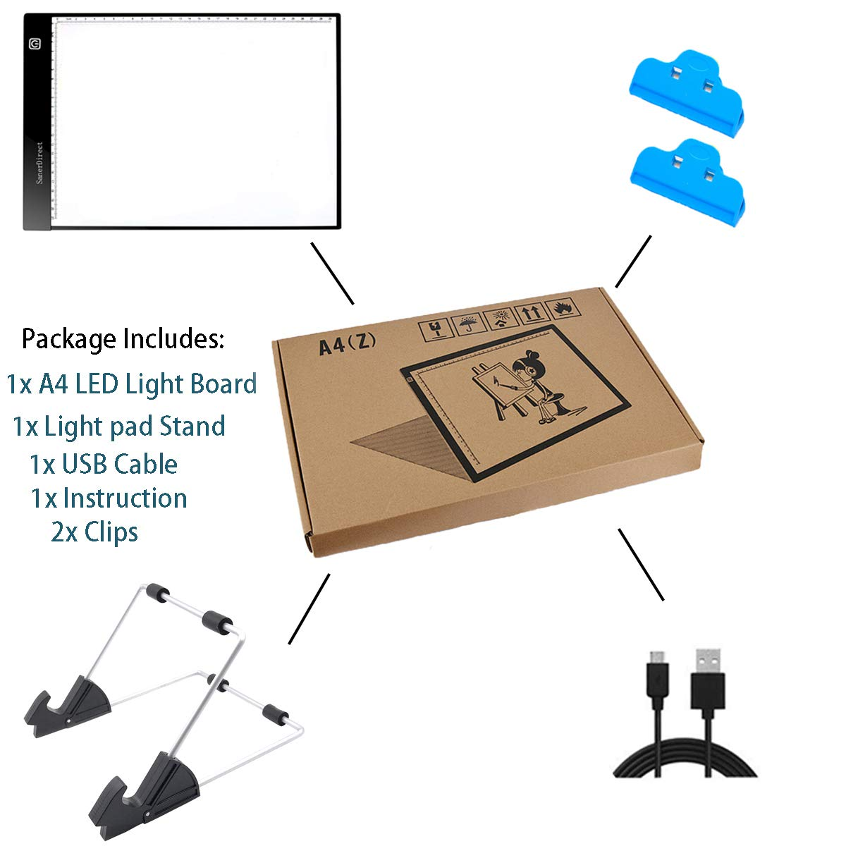 2nd-Generation Ultra-Thin Tracing Light Board Stand SanerDirect Diamond Painting A4 Light Pad USB Powered Adjustable Brightness Light Board with Clips