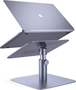 "Adjustable Laptop Stand, Lamicall Laptop Riser : Multi-Angle Height Adjustable 360°Rotation Computer Notebook Stand Desktop Holder Compatible with Apple MacBook, Mac, Air, Pro, Dell XPS, HP(10-17"")"