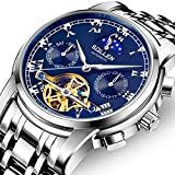 SOLLEN SL-804 Men's Flywheel Automatic Water Resistant Business Wrist Watch with Luminous Hands (Blue)