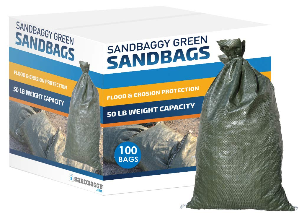 Sandbaggy - Empty Poly Sandbags W/UV Protection - Size: 14'' x 26'' - Color: Green - Military Grade (100 Bags) by Sandbaggy