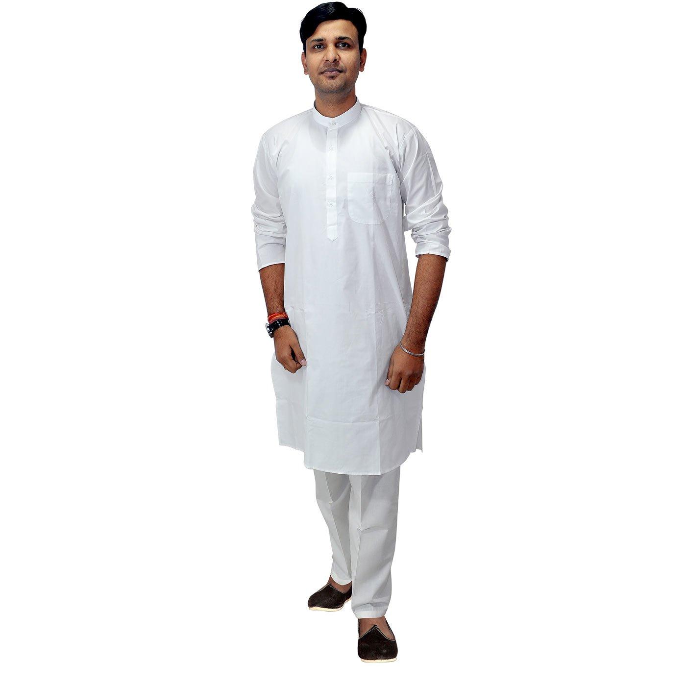 Dungri India Craft Mens Indian Clothing White Cotton Kurta Pajama Ethnic India Wear-Large