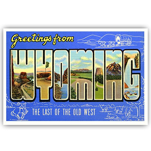 GREETINGS FROM WYOMING vintage reprint postcard set of 20 identical postcards. Large letter US state name post card pack (ca. 1930's-1940's). Made in USA.