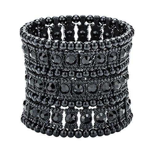Szxc Jewelry Women's Multilayer Crystal Stretch Bracelet 3 Row ()
