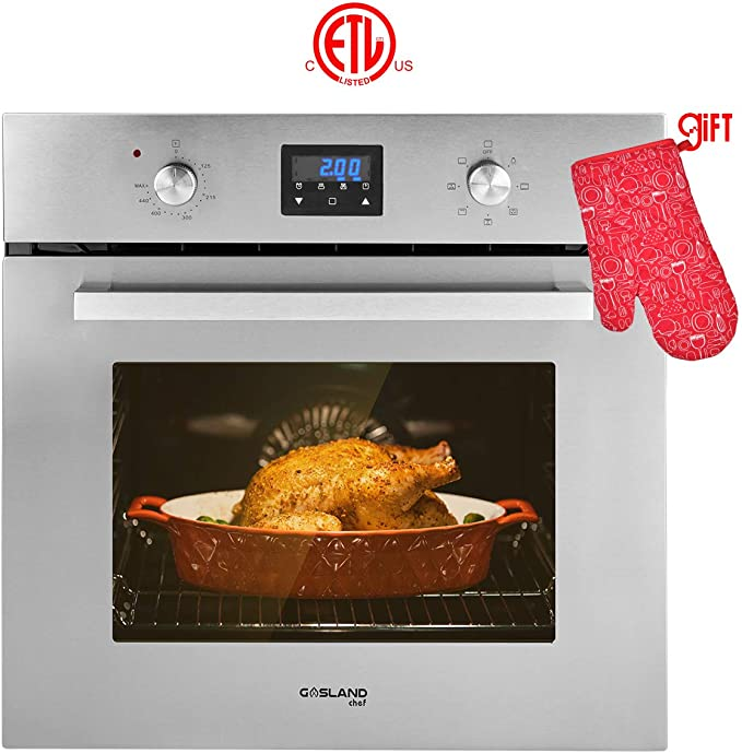 "Single Wall Oven, GASLAND Chef ES609DS 24"" Built-in Electric Ovens, 240V 2800W 2.3Cu.f 9 Cooking Functions Convection Wall Oven, Digital Display, Mechanical Knob Control, Stainless Steel Finish"