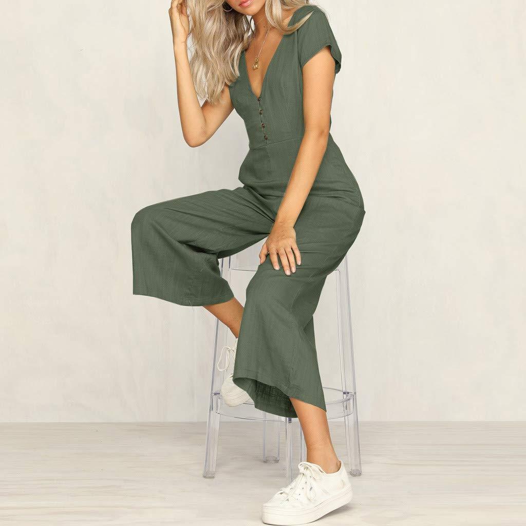 RAISINGTOP Womens Cotton Jumpsuits Short-Sleeved V-Neck Casual Rompers Linen Overalls Wide Leg Pants Playsuit Summer