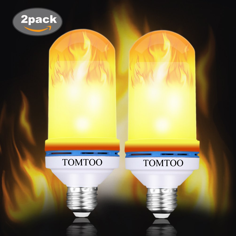 Flame Effect Light Bulb, E26 LED Flickering Flame Effect Light,105pcs 2835 LED Beads Simulated Decorative Light for Christmas Decoration/ Hotel/ Bars/ Home/ Restaurants(2 Pack)