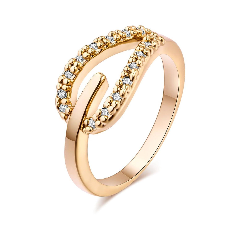 YAZILIND las mujeres de la boda anillos de compromiso K oro plateado