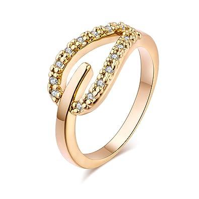 YAZILIND las mujeres de la boda anillos de compromiso 18K oro plateado banda corazón princesa corte promesa aniversario joyería nupcial infinito amor por su ...