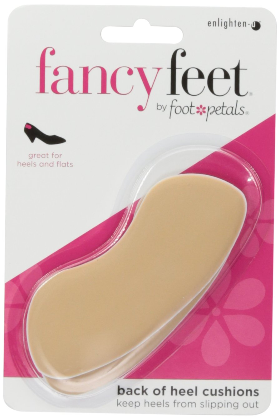 Foot Petals Fancy Feet Back of Heel Cushions - One Pair of Cushioned Heel Inserts to Prevent Rubbing and Blisters from Uncomfortable Shoes, Khaki