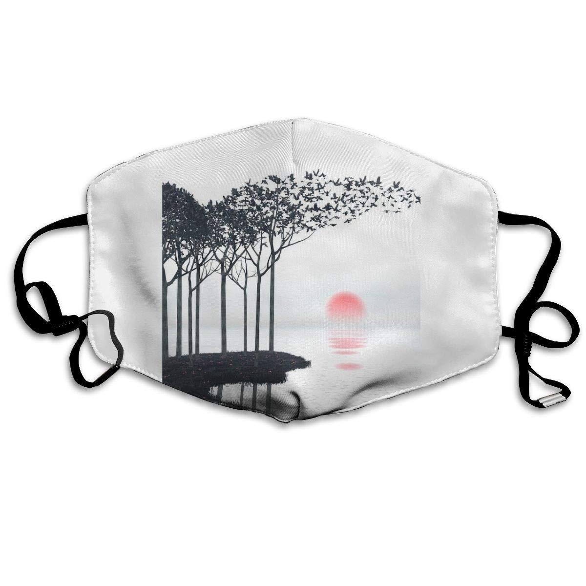 N/ AKI Art Print Máscara Lavable Boca Cubierta Resistente al Viento cálido Reutilizable, poliéster, Blanco, Talla única