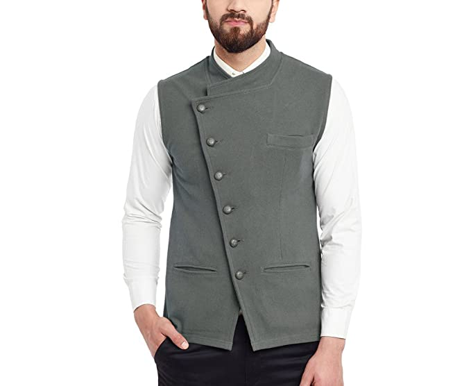 9d64c9148c6 Hypernation Grey Cotton Waistcoat For Men  Amazon.in  Clothing ...