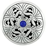 Sterling Silver Floral Mandala Brooch Pin Pendant w/ Blue Color Crystal, 2 inch