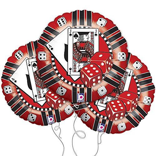 - Metallic Red and Black Casino Chip Mylar Balloon 3pk