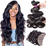 RECOOL Brazilian Body Wave Bundles With Frontal Closure Ear to Ear Lace Frontal with Bundles Wavy Human Hair Extensions Natural Color(16 18 20 With 14)