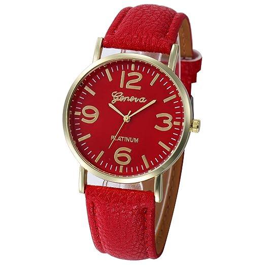 Relojes Mujer Damas Casuales Damas De Cuero De Imitación De Cuarzo Analógico Reloj De Pulsera