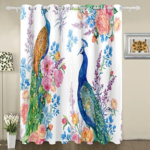 My Little Nest Watercolor Peacocks Flowers Blackout Window Curtains Grommet Top Thermal Insulated Room Darkening Drape