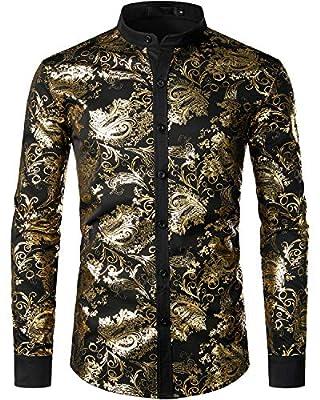 VATPAVE Mens Casual Luxury Print Dress Shirts Paisley Long Sleeve Button Down Shirts