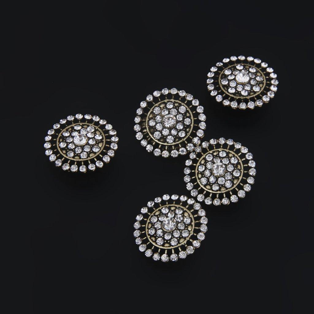 Baosity 5pcs Bottoni di Cristallo Abbellimento Ornamento Scrapbooking per Creazione Monili Gioielli Artigianato DIY Bronzo