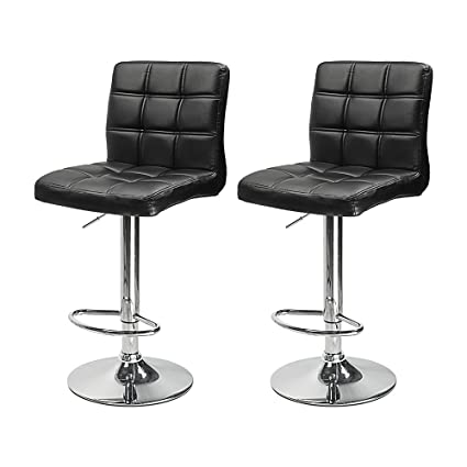 Set Of 2 PU Leather Modern Adjustable Swivel Barstools Hydraulic Chair Bar  Stools With Backrest (