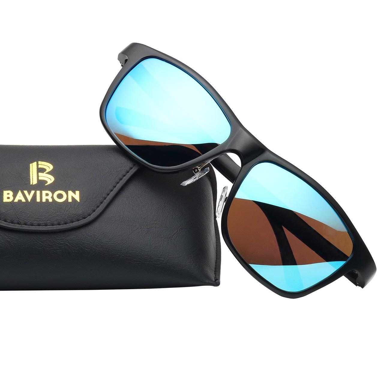 BAVIRONメンズスクエア偏光サングラスヴィンテージ長方形サングラス  ブラック/ブルー B079FMCR7R