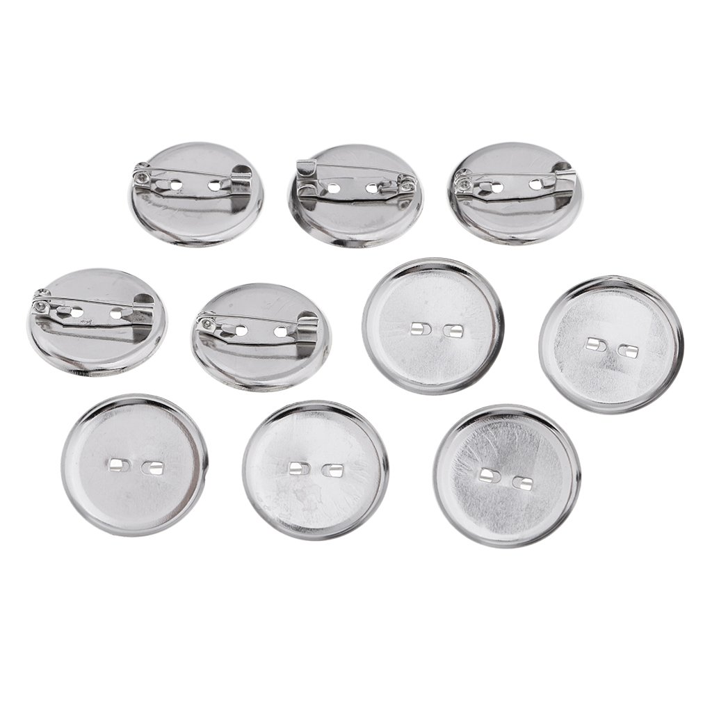 Prettyia 20 Pieces Blank Pin-Back Button Sets Brooch Base Pins Brooch Finding DIY Base Clip Color Silver Tone Badge Making Base with Pin Safe Design