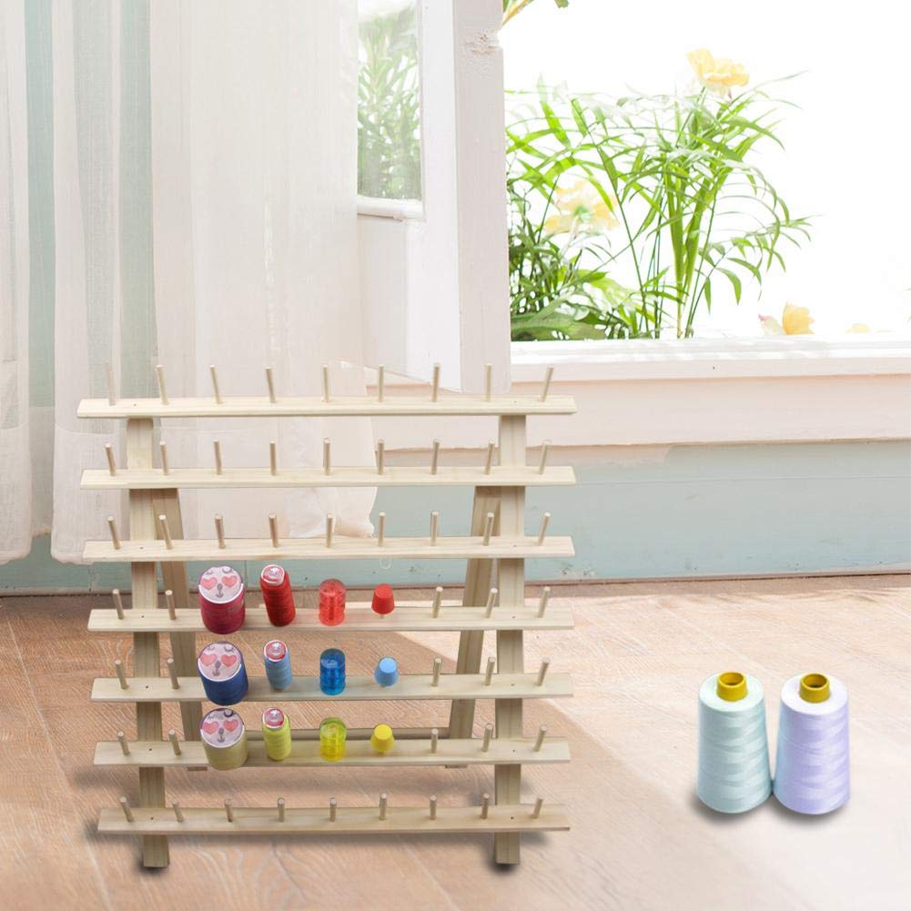 63 Brother Colours Polyester Machine Sewing Embroidery Thread Rack Solid Wood Folding Wire Frame Bobbin Log
