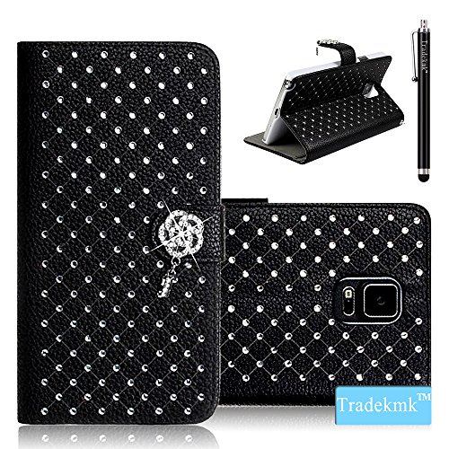 Galaxy Note 4 Case, Tradekmk(TM) Luxury Fashion PU Leather Folio Magnet Metal Wrist Strap Wallet Stand Case Cover [Glitter Bling Crystal Babysbreath Rhinestone Design] Compatible with Samsung Galaxy Note 4[+Stylus]-(Black)
