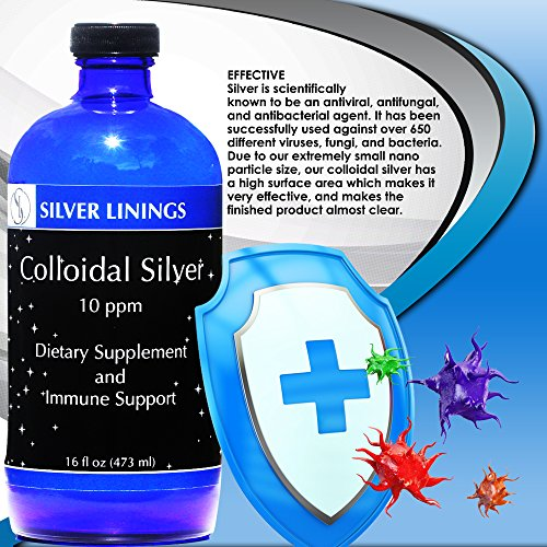 Silver Linings Colloidal Silver Hydrosol, 10 PPM, A Powerful Natural Antibiotic, and Preventative Measure Against Infection, Immune Support, Safe for Adults, Kids, Pets, and Plants, 16 oz by Silver Linings (Image #3)