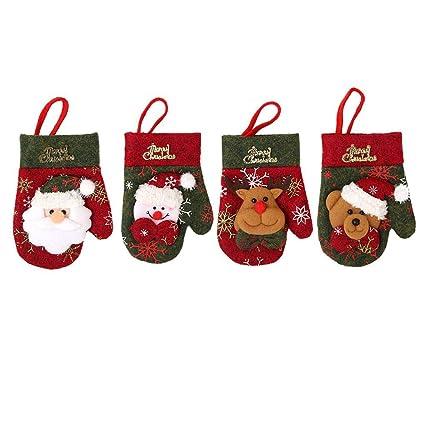 4pcs Navidad Tenedor Cuchara Vajilla Bolsas de Regalo de Santa Claus Guantes muñeco de Nieve del Oso del Reno de Bolsillo del árbol de Navidad ...