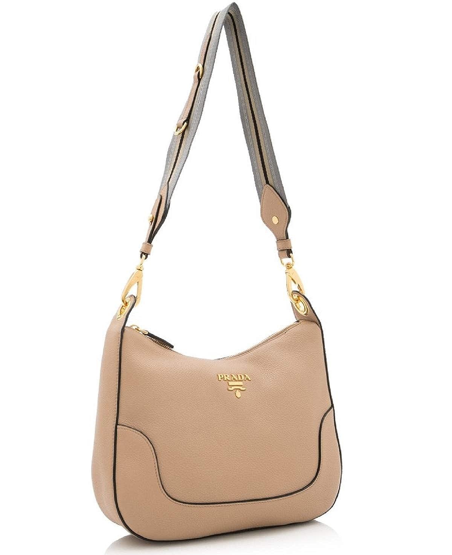 e6d56e4d40f9 Prada Vitello Daino Tan Leather Shoulder Handbag with Silver and Blue Nylon  Web Striped Strap 1BC052: Handbags: Amazon.com