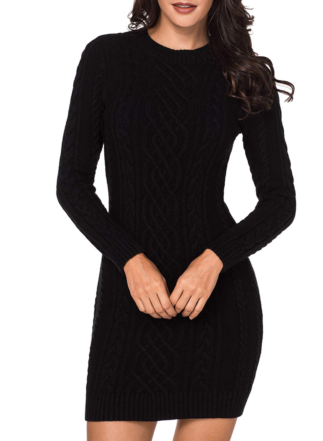 Azokoe 2018 Knit Sweater Dress Women 2018 Winter Casual Slim Fit Chunky Scoop Neck Pullover Cable Knit Sweater Mini Bodycon Dress Black Large