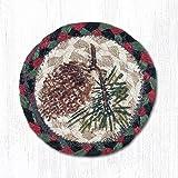 5''X5'' Burgundy/Black/Sage Pinecone Round Individual Coaster, Set of 4