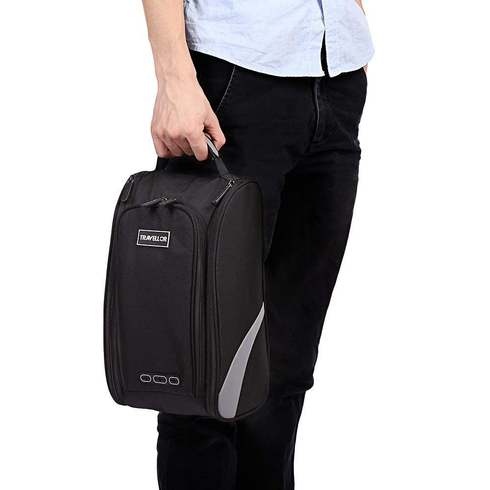 Shoe Bag Golf Modern Golf Shoe Zipped Closure Portable Protect Sports Travel Shoes Black Bag by Bicycleer (Image #4)